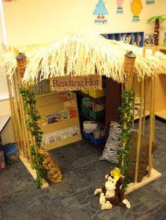 Jungle themed kindergarten classroom! I love the Reading Hut!