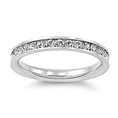 316L Stainless Steel Eternity CZ Wedding Band Ring 3mm Sz 3-10; Comes With FREE Velour Pouch And Gift Box