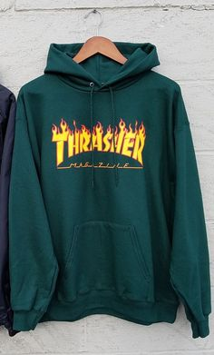 Thrasher Flame Logo Hoodie is a special spruce green colorway for the  Holiday 2016 collection in the ever popular Thrasher Flame Logo.