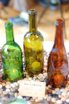 """Wine bottle luminaries on Etsy """"Green Illuminations...I need to get a glass cutter...."""