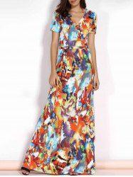 Trendy V-Neck Short Sleeve Multicolored Print Plus Size Maxi Dress For Women (COLORMIX,3XL) | Sammydress.com Mobile