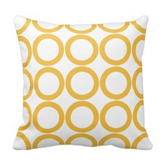 Yellow and White Circles / Dots Pillow