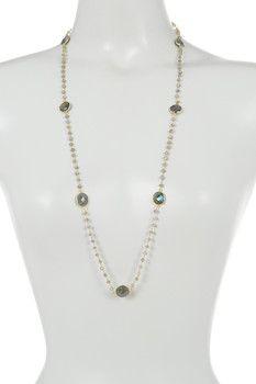 18K Gold Plated Sterling Silver Labradorite Station Necklace