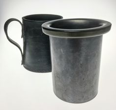 'Real Hide' Leather wrapped steel grey ceramic tankard '3632 Made In England 4' on base. leather handle   item ref 0179