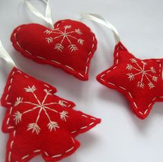 Felt Scandinavian Christmas Hanging Decorations in Red