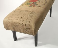 The bench is upholstered with reused coffee bean burlap sacks, these bags came from Costa Rica. Three panels from the coffee bags cover the bench. Upholstered Furniture, Painted Furniture, Home Furniture, Burlap Furniture, Coffee Bean Bags, Coffee Sacks, Burlap Projects, Burlap Crafts, Bench Covers