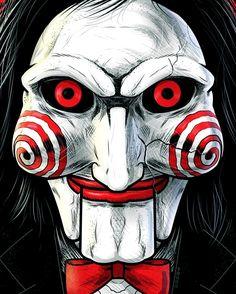 horror movie Jigsaw by Thuddleston Horror Movie Characters, Horror Movies, Jigsaw Movie, Scary Drawings, Horror Drawing, Horror Artwork, Evil Clowns, Horror Icons, Arte Horror
