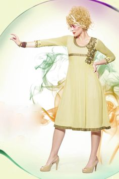 Yellow Georgette Embroidered Kurti