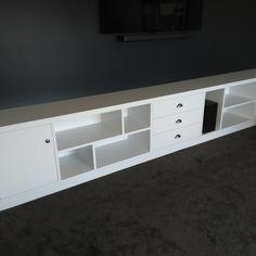 IMG_20200522_142017 Wood Slat Wall, Wood Slats, Built In Furniture, Industrial Furniture, Make Build, Built In Bookcase, Cabinet, Storage, Building