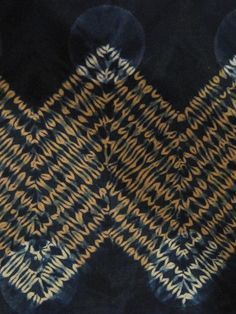 Mokume Zig-Zag close-up by amelia    Rust-dyed cotton calico, stitched and over-dyed with Indigo