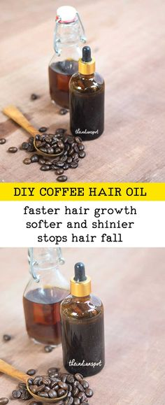 Coffee oil helps to increase the blood circulation and can stimulate the hair follicles to speed up the growth. Coffee grounds can easily be dried and then infused into an oil which can be applied to the scalp in a variety of delivery methods ranging from Coconut Oil Hair Growth, Coconut Oil Hair Mask, Oil For Curly Hair, Hair Oil, Color Cafe Cabello, Natural Hair Care, Natural Hair Styles, Natural Beauty, Coffee Hair