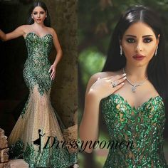 Buy Dignified Tulle Prom/Evening Dress -Green Mermaid Sweetheart with Sequins Prom Dresses 2016 under $172.99 only in Dressywomen.
