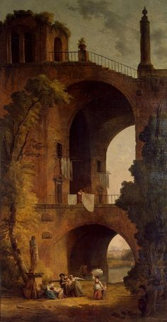 Landscape with Ruins by Hubert Robert (French 1733-1808)