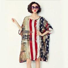 American Flag Oversized Chiffon Dress