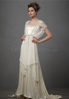 Graceful Sheath Satin Cape Sleeves Lace Draping Wedding Dress