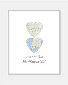 Unique Wedding Gift - For Couples Wedding Map Heart Custom Map Heart Engagement Gift - Personalised Wedding Gift Custom Gift - Any Locations
