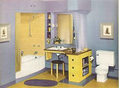 Here's an interesting color scheme for the bathroom — purple and yellow. Also check out that counter design — the Marcia counter top sink with a laminate vanity surrounding it.