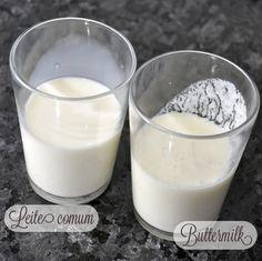 Buttermilk caseiro Rende: 1 xícara 1 xícara de leite integral 1 1/2 colher de sopa de suco de limão tahiti ou 1 1/2 colher de chá de vinagre branco Ele precisa de pelo menos 10 minutos parado para que o suco do limão reaja totalmente com o leite.