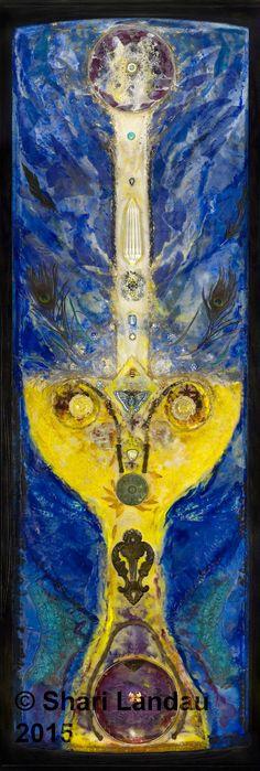 Art Print:Holy Grail I AM- Chalice- Crystals- Archangel Michael- Encaustic art- Shari Landau- Holy Grail- Archangelic Art- SacredArtByShari