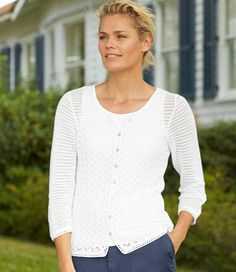 Pointelle Stitch Cardigan: Cardigans | Free Shipping at L.L.Bean