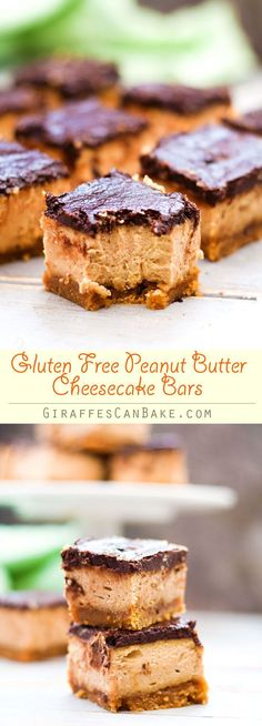 Gluten Free Peanut Butter Cheesecake Bars - These Gluten Free Peanut Butter Cheesecake Bars have a flourless peanut butter cookie base, with a creamy cheesecake loaded with tonnes of peanut butter, and topped with a rich and silky chocolate ganache. These
