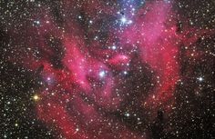 IC 2944, also known as the Running Chicken Nebula or the Lambda Centauri Nebula, is an open cluster with an associated emission nebula apeearing in the constellation Centaurus, near the star Lambda Centauri. It is estimated to be just over 6,000 light years distant.