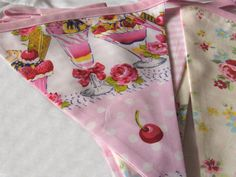 Ice Cream Sundae bunting Fabric Bunting Banner floral by FruteJuce
