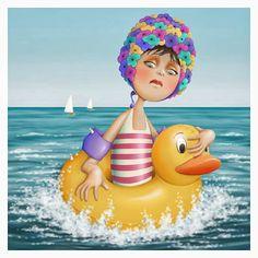quenalbertini: Afraid of the sea by Nina de San Art Pictures, Photos, Creation Photo, Vintage Swim, Animation, Beach Art, Art Plastique, Cute Illustration, Cute Art