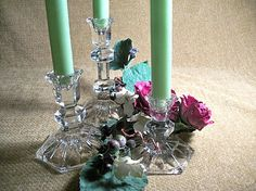 Crystal Candle Sticks Taper Candle Holders by SpringJewelryThings