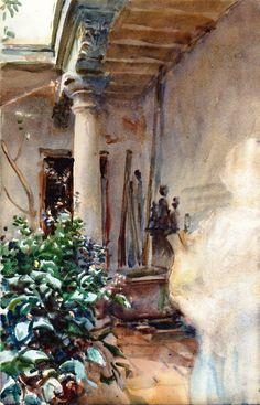 The Athenaeum - The Patio (John Singer Sargent - ) 1908