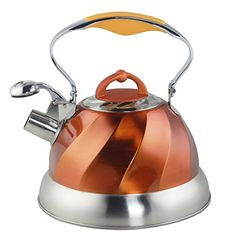 Riwendell Stainless Steel Whistling Tea Kettle 26Quart Stove Top Kettle Teapot Copper *** Additional details @