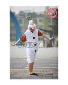 Disney Olaf Frozen New Costume Kigurumi Pajamas Unisex Cosplay Onesie Pyjamas Snowman Short Sleeve!! Olaf love Summer!! X)