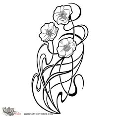 Art Nouveau Flower Tattoos images