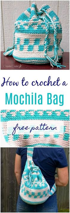crochet this gorgeous tapestry style backpack. - Crochet this mochila inspired backpack using Bernat Maker Home Dec yarn. Free pattern by Croyden Crochet. Mochila Crochet, Bag Crochet, Crochet Diy, Crochet Handbags, Crochet Purses, Crochet Crafts, Crochet Projects, Crochet Baskets, Crochet Ideas