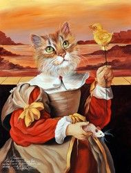 Painting by French painter Sylvia Karle Marquet Great Paintings, Dog Paintings, Image Chat, Dog Artwork, Animal Society, Fancy Cats, Cat Doll, Cat People, Animals Images