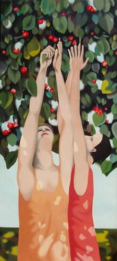 "Federico Cortese; Painting, ""Cherries collectors"""