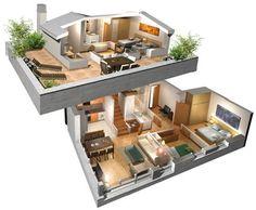 planos en 3d de casas de 4 dormitorios - Buscar con Google