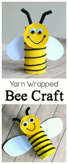 Cardboard Tube Bee Craft for Kids: Practice fine motor skills with this simple b. Cardboard Tube Bee Craft for Kids: Practice fine motor skills with this simple bee art project using an empty toilet Bee Crafts For Kids, Daycare Crafts, Fun Crafts, Art For Kids, Craft Kids, Simple Kids Crafts, Kids Fun, Art Children, Summer Crafts