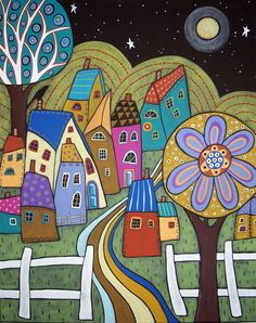Folk Art Village in the Moonlight Karla Gerard Art Village, Art And Illustration, Karla Gerard, Canvas Art, Canvas Prints, Alphonse Mucha, Naive Art, Whimsical Art, Art Plastique