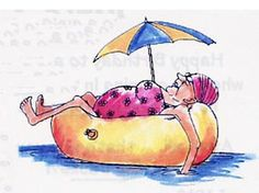 Art Impressions Mrs. Ed - Unmounted Rubber Stamp. Lady in bathing suit floating in inner tube with sun umbrella attached .