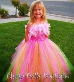 Handmade Pink Feather Poofy Tutu Dress Party Wedding Girls Pageant 1 2 3 4 5 6 | eBay
