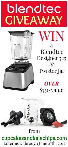 Blendtec Giveaway - Enter now to win a Blendtec Designer 725 Blender and Twister Jar from cupcakesandkalechips.com