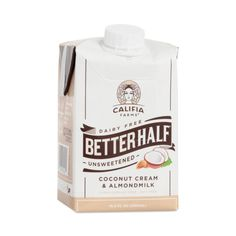 Give your everyday half-and-half a vegan makeover that will transform your morning cuppa joe. Califia Farms' innovative blend of nut-based, dairy-free coconut and almond creams is a dream come true for health-conscious coffee lovers. It's creamy and rich without excess sugars, calories, additives, or bad-for-you oils that leave you feeling bloated after every sip. Plus, unlike traditional non-dairy creamer, Better Half does not contain hydrogenated oils or artificial chemicals, like titanium…