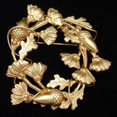 Wreath of Acorns, Oak Leaves & Flowers Pin Vintage Brooch