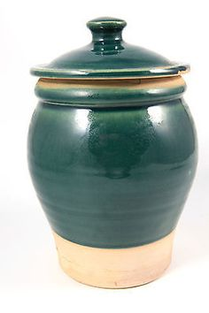 Rowe Pottery Works RPW Avignon Salt Glaze Pot Crock Cannister Jar with Lid Green