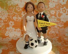 Instead of a Groom's cake. spend the money on an AMAZING personalized cake topper! ((But we need to add a football instead of a soccer ball on him and the girls! Personalized Cake Toppers, Custom Cake Toppers, Wedding Cake Toppers, Wedding Cakes, Tipi Wedding, Our Wedding Day, Rustic Wedding, Dream Wedding, Wedding Things