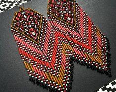 by hoofandarrow on Etsy Baby Earrings, Seed Bead Earrings, Fringe Earrings, Beaded Earrings, Beaded Jewelry, Bohemian Jewelry, Seed Beads, Jewellery, Native American Earrings