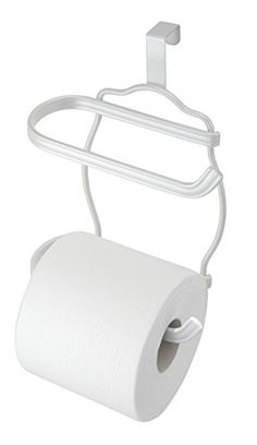 mdesign double toilet paper holder for bathroom storage over the tank pearl white for