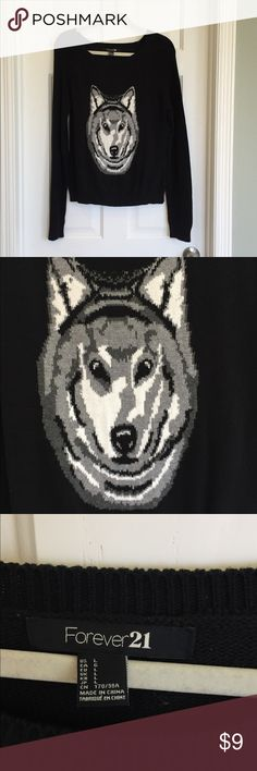 Forever 21 • Wolf Sweater • IT'S A WOLF'S HEAD ON A SWEATER • A WOLF SWEATER 🐺  •smoke free home  •good condish •looks good on a human body or hanging on a door 🌚 Forever 21 Sweaters
