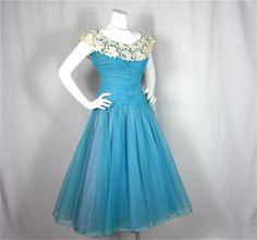 Vintage 50s Cloud Blue Dress